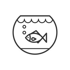 Black isolated outline icon of aquarium with fish on white background. Line Icon of fish bowl.