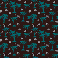 Seamless pattern, palm tree and seashells on brown background,