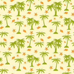 Seamless pattern, palm tree and seashells on beige background,