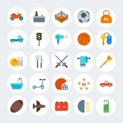 Modern Simple Set of transports, hotel, sports Vector flat Icons. Contains such Icons as door,  black,  speed,  office, ring,  car and more on white cricle background. Fully Editable. Pixel Perfect.
