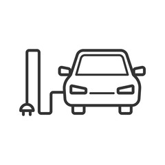 Black isolated outline icon of electric car on white background. Line Icon of electric car.