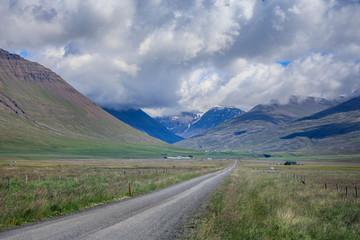 Amazing Scenic mountain road landscape shot on iceland