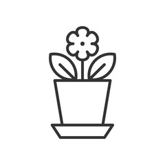 Black isolated outline icon of flower in flowerpot on white background. Line Icon of flower.