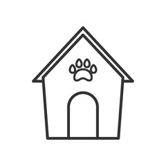 Black isolated outline icon of kennel on white background. Line Icon of animals house.
