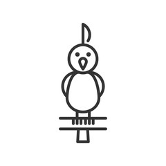 Black isolated outline icon of parrot on white background. Line Icon of bird.
