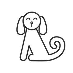 Black isolated outline icon of sitting dog on white background. Line Icon of dog.