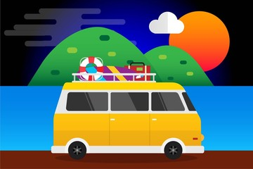Yellow Car With Surfboard and Suitcases Summer, Car Travel to Sea. Vector Illustration Flat Design Background