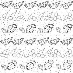 frutta estiva in bianco e nero
