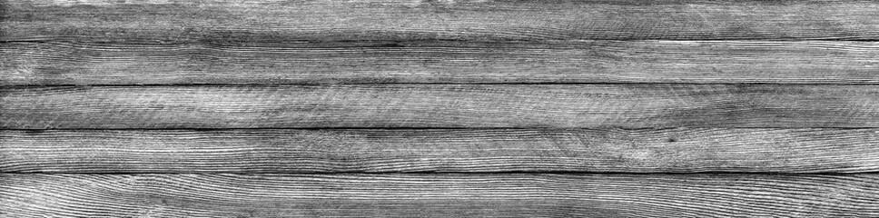 horizontal panoramic retro grunge background of wooden planks, black and white photo