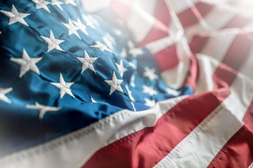 Close-up of american flag waving in the wind