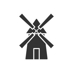 Black isolated silhouette of mill on white background. Icon of windmill.