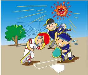 熱中症にかかった少年野球の選手