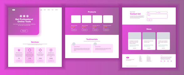 Main Web Page Design Vector. Website Business Graphic. Landing Template. Future Energy Project. Increase Experience. Credit Customer. Introduction Team. Illustration
