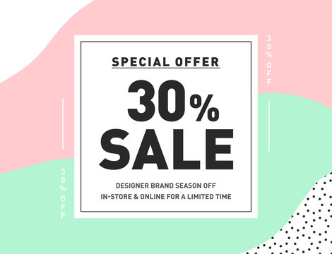 30% OFF Special Offer Sale. Trendy Vector Design Template for Newsletter, Banner, Coupon, Flyer. Series of Pastel Color Sale Discount Promo Stickers. 30% Price OFF Discount Promotion Banner Design.