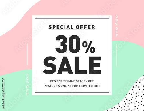 30 off special offer sale trendy vector design template for