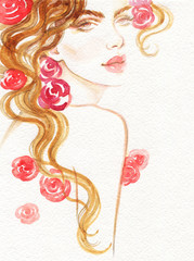Deurstickers Aquarel Gezicht beautiful woman. fashion illustration. watercolor painting