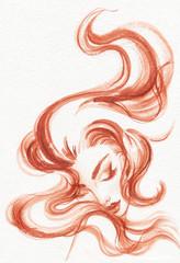 Zelfklevend Fotobehang Aquarel Gezicht beautiful woman. fashion illustration. watercolor painting
