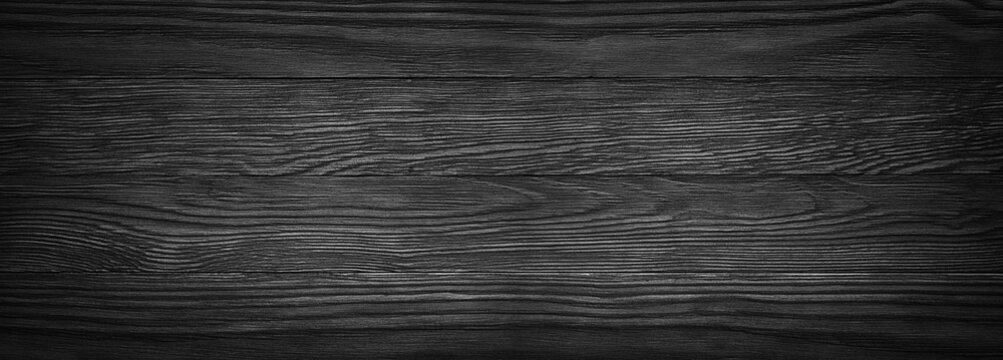 Dark black wooden texture. panoramic Vintage rustic style. wood Natural surface