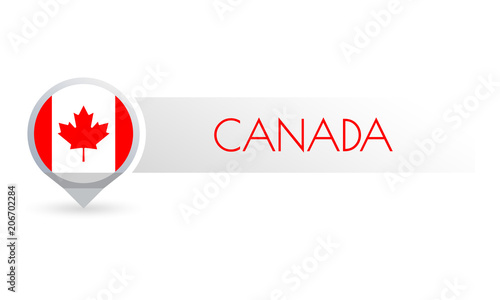Canada flag. Circle flag on in the map marker shape. Canadian ... on