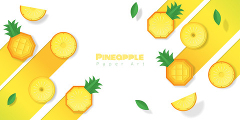 Fresh pineapple fruit background in paper art style , vector , illustration