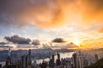 Sunrise view at Victoria Peak in Hong Kong