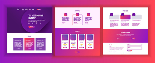 Website Template Vector. Page Business Interface. Landing Web Page. Responsive Ux Design. Opportunity Form. Creativity Construction. Stylish Creativity. Illustration