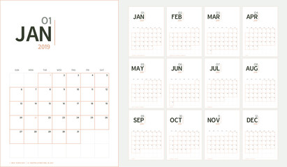 Vector of 2019 new year calendar in minimal table simple style and organic tone color,Holiday event planner,Week Starts Sunday,A5 size.