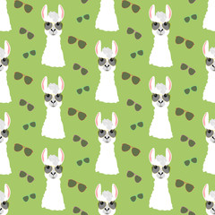 Llama in aviator glasses seamless pattern