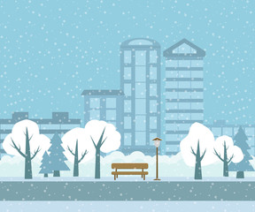 Vector landscape of a winter park on a city background.