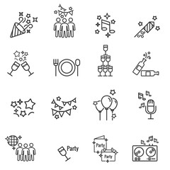 Party Vector Line Icons