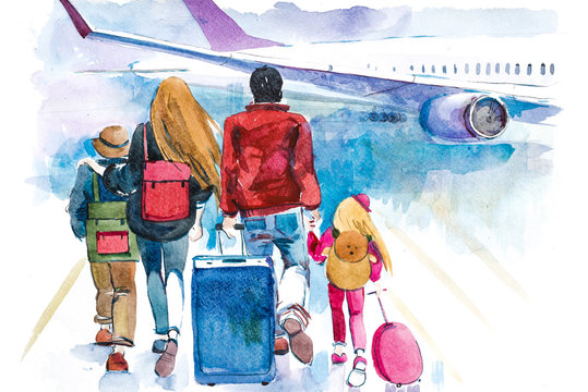 Family going to airplane. Tourists passagers walking in to aircraft at airport