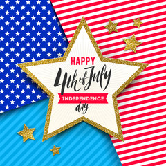 4th of July, Independence day - Star with brush calligraphy greeting on a stars and stripes USA patriotic colors background. Vector illustration.