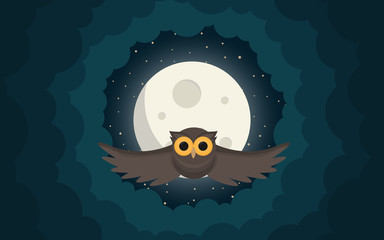 the owl flies in the clouds under moon