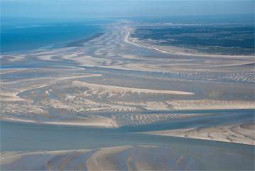 photo aérienne de la Baie de Somme au nord de la France