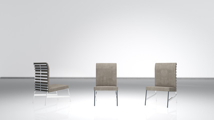 Modern chair composition, 3 angles