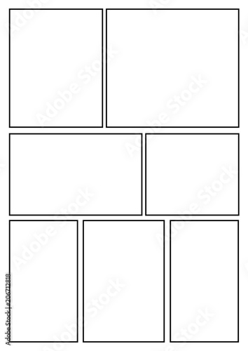 manga storyboard layout template for rapidly create the comic book ...