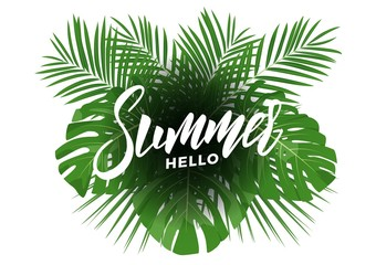 Summer. Modern design layout with lettering and tropic jungle leaves bouquet. Summer exotic background