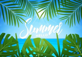 Tropic background. Summer tropical palm leaves and exotic beach. Summer exotic background