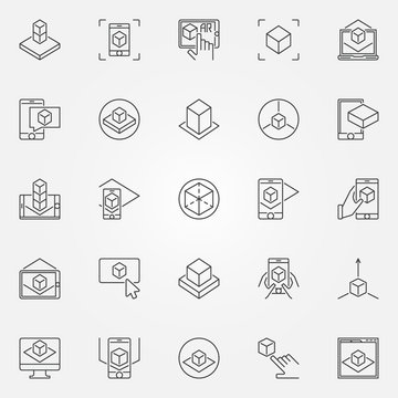 Augmented reality icons set. Vector AR outline signs