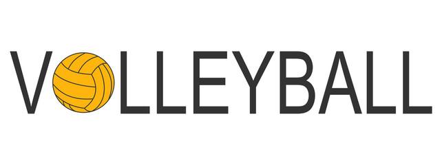 Text Volleyball logo with ball yellow