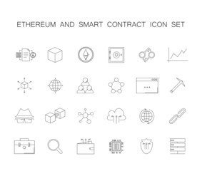 Line icons set. Ethereum and smart contract pack. Vector illustration
