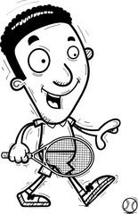 Cartoon Black Tennis Player Walking