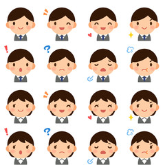 Isolated set of young suit man & woman flat style avatar expressions