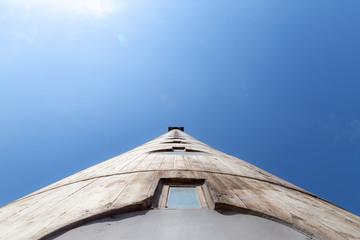 Part of western city gate of Belgrade, blue spring sky
