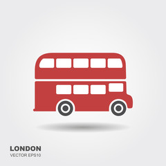 London double-decker flat red bus