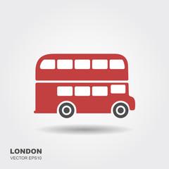 London double-decker flat red bus