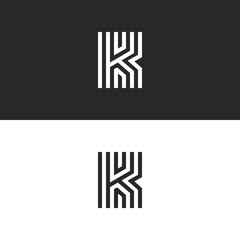Letter K logo minimal moogram linear design. Exquisite creative blac and white thin lines initial emblem for business card identity symbol.