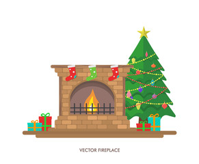 Vector illustration with fireplace and gifts.