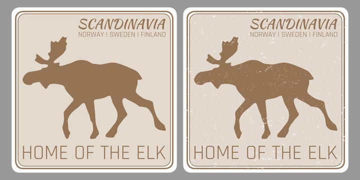 Scandinavia vintage travel sticker