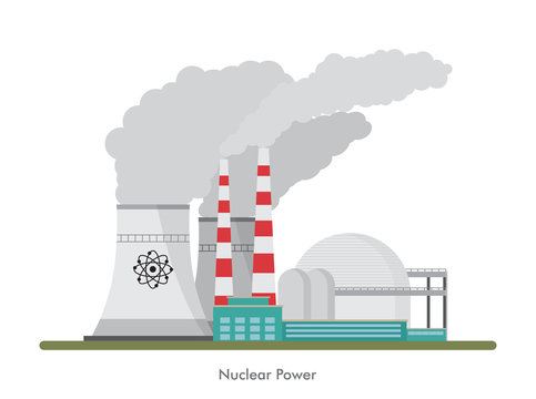 Vector nuclear power plant on white background.